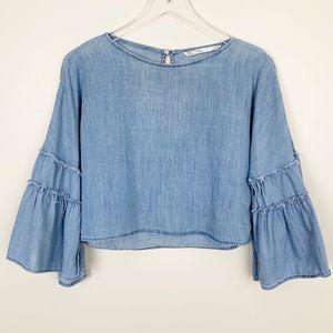 Zara   Chambray Cropped Bell Sleeve Shirt Boho XS